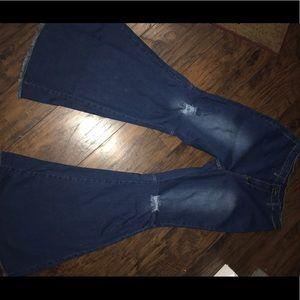 Denim - Dark Blue Wide Leg Jeans